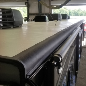 Fresh RV Flex Armor roof on this 45ft Toyhauler. Turned out great